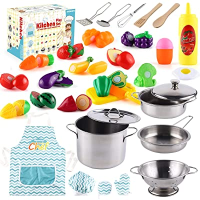 35 Pcs Kitchen Pretend Play Accessories Toys,Cooking Set with Stainless Steel Cookware Pots and Pans Set,Cooking Utensils,Apron,Chef Hat,and Cutting Play Food for Kids,Educational Learning Tool: Toys & Games