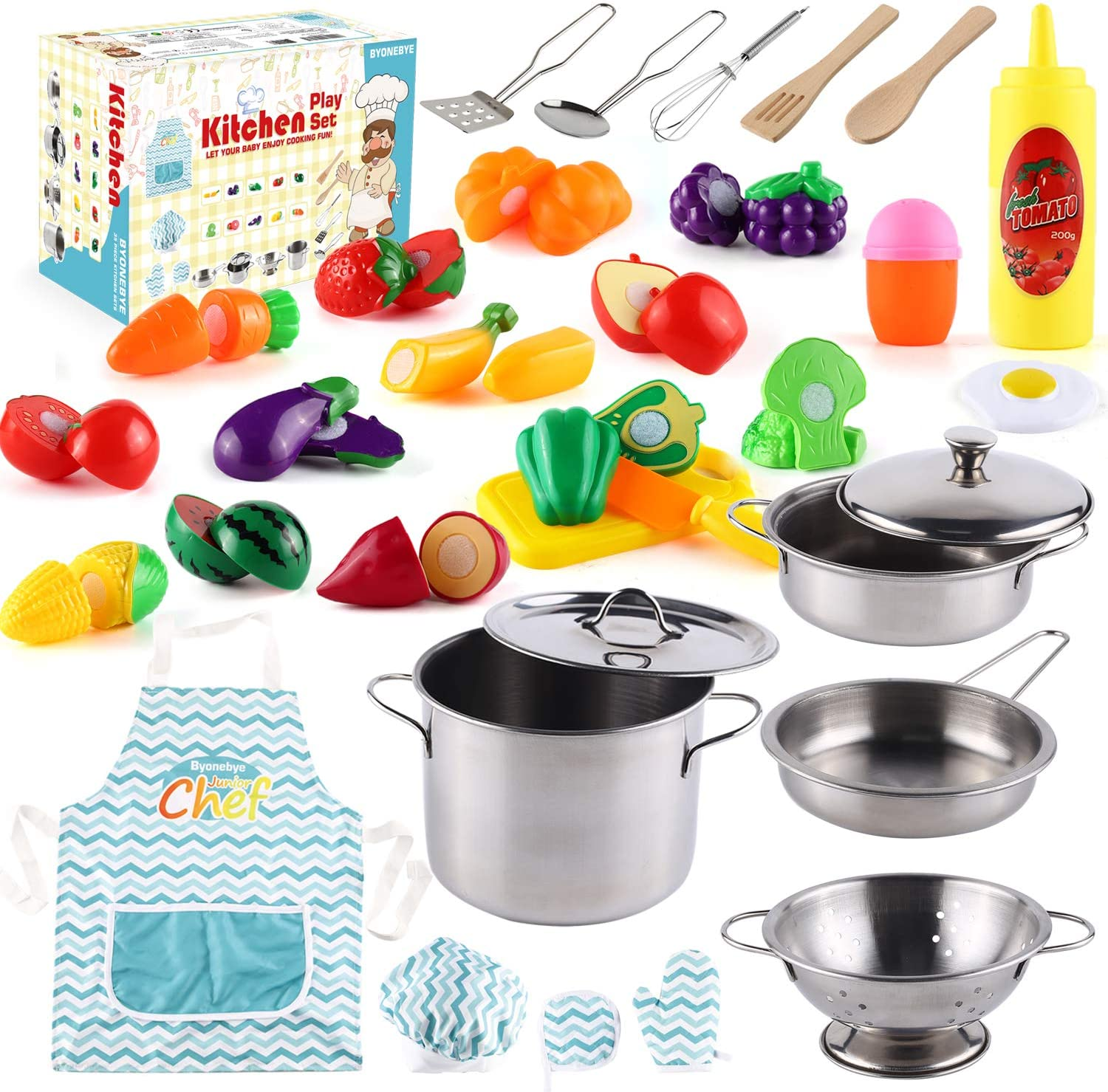 35 Pcs Kitchen Pretend Play Accessories Toys,Cooking Set with Stainless Steel Cookware Pots and Pans Set,Cooking Utensils,Apron,Chef Hat,and Cutting Play Food for Kids,Educational Learning Tool