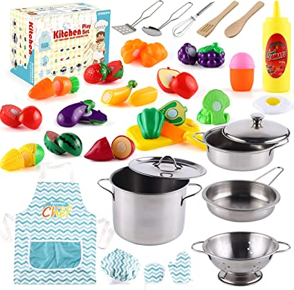 Amazon Com 35 Pcs Kitchen Pretend Play Accessories Toys Cooking Set With Stainless Steel Cookware Pots And Pans Set Cooking Utensils Apron Chef Hat And Cutting Play Food For Kids Educational Learning Tool Toys Games