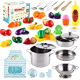 35 Pcs Kitchen Pretend Play Accessories Toys,Cooking Set with Stainless Steel Cookware Pots and Pans Set,Cooking…