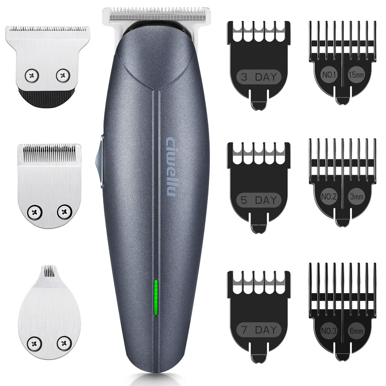 Beard Trimmer Kit, Ciwellu Hair Cut Clippers Cordless USB Rechargeable Multi-functional Hair Cutting Trimmer Body Personal Grooming Kit of Mustache Trimmer, 7 Precision Length Settings Combs