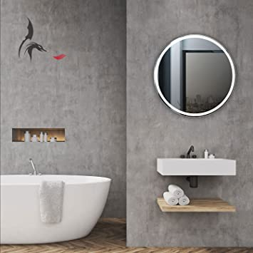 Round LED Illuminated Backlit Bathroom Mirror Mannheim 60 Cm With Light In The