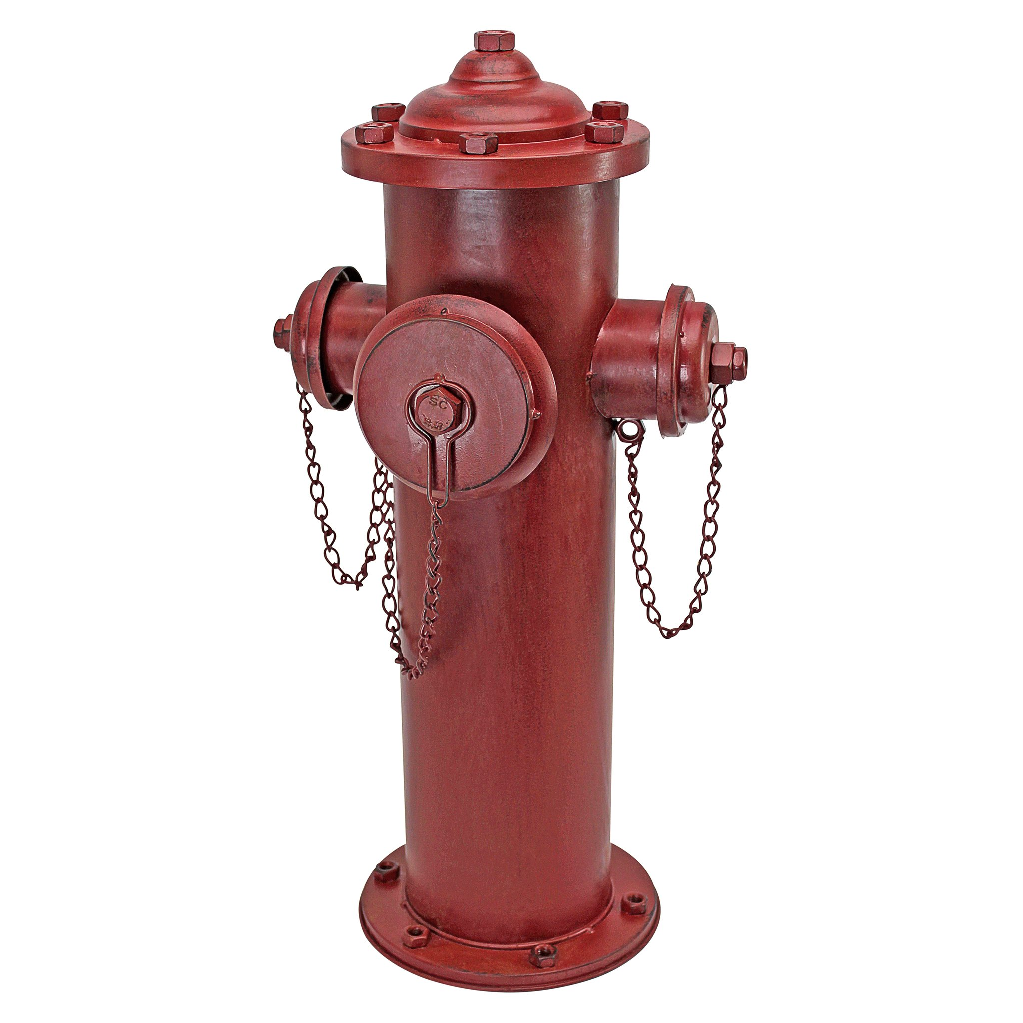 Design Toscano Fire Hydrant Statue Puppy Pee Post and Pet Storage Container, Large 23 Inch, Metalware, Full Color