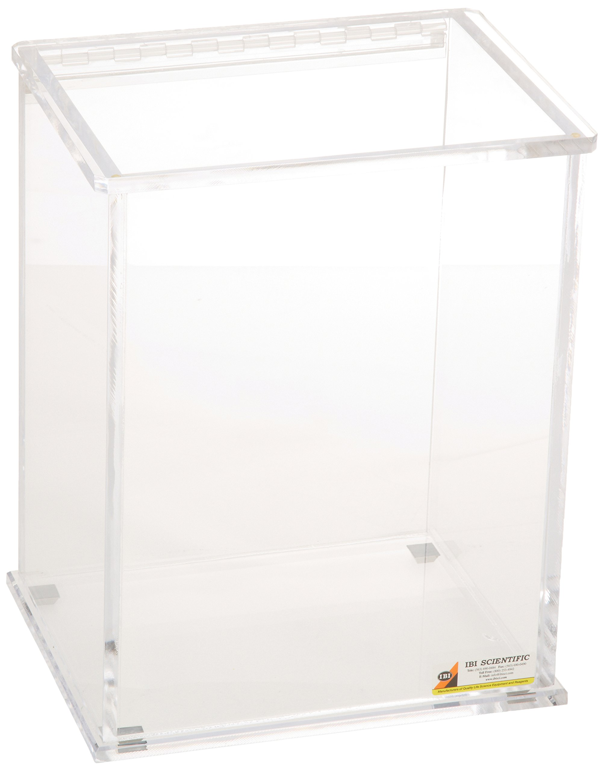 IBI Scientific WH-160 Beta-Gard Acrylic Medium Waste Container with Hinged Lid, 8-3/4'' Width x 13-1/4'' Height x 8-3/4'' Depth