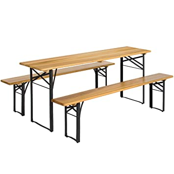Amazon.com : Best Choice Products 3 Piece Portable Folding Picnic Table Set  W/Wooden Tabletop   Brown : Garden U0026 Outdoor