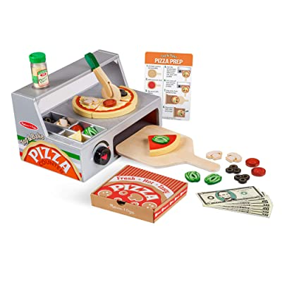 "Melissa & Doug Top and Bake Wooden Pizza Counter Play Food Set (Pretend Play, Helps Support Cognitive Development, 34 Pieces, 7.75"" H x 9.25\"" W x 13.25\"" L): Toys & Games [5Bkhe0500646]"