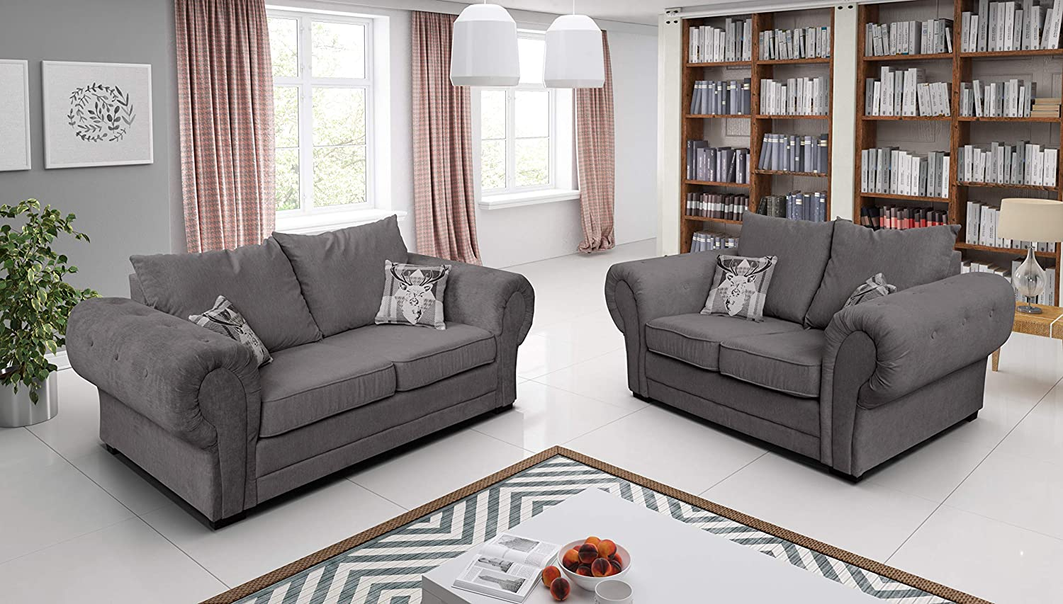 Amazing sofas-FIRE RESISTANT-New Large UNIVERSAL VERONA Baron Corner SOFA SET 3 2 1 seats seater OR Left or Right GREY SILVER, foam filled seats for comfort(3+2, full back, Grey)