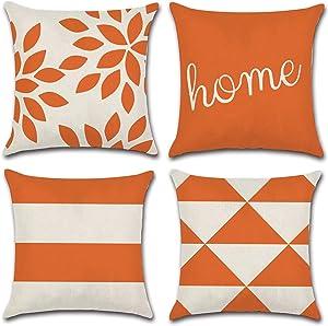 JOJUSIS Modern Geometric Throw Pillow Covers Cotton Linen Home Decor 18 x 18 inch Set of 4 Home Orange