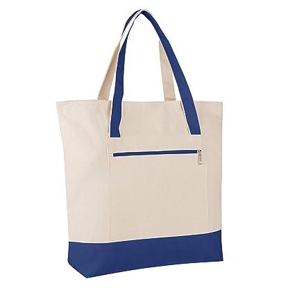 d8557022b908 BagzDepot Zipper Canvas Tote Bags - Heavy Duty Blank Reusable 18