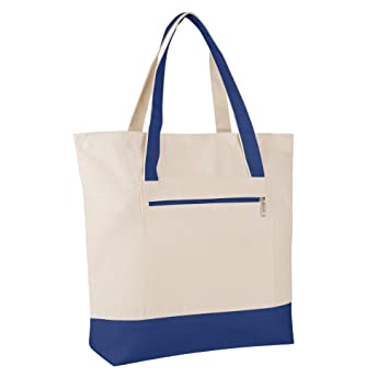 Amazon.com  SET OF 4 - Heavy Canvas Large Size Fancy Zippered 12oz.Travel Tote  Bags 5ac2b8a6a0a92