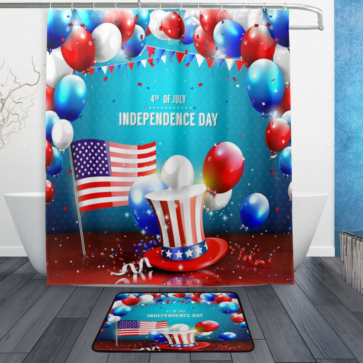 ALAZA Set of 2 Colorful Americann USA Flag 60 X 72 Inches Shower Curtain and Mat Set, 4th of July Independence Day Waterproof Fabric Bathroom Curtain and Rug Set with Hooks