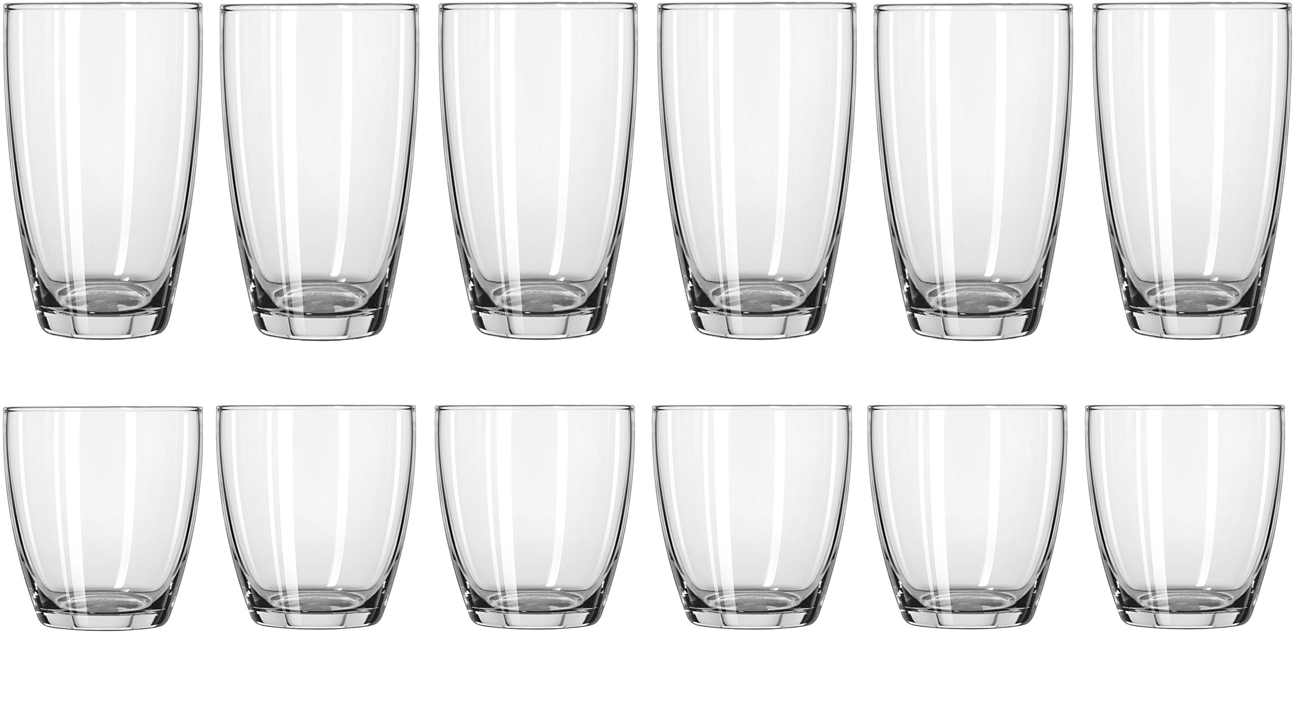 Circleware 44539 Smooth Huge Set of 12, 6-16oz Drinking Glasses & 6-13oz Whiskey Glass, Kitchen Glassware for Water, Beer, Wine Liquor Beverage, 16oz&13oz, Smooth 12pc by Circleware (Image #3)