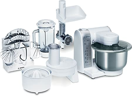 Bosch MUM4780 - Robot de cocina (bol de acero inoxidable, 600 W), color blanco y gris metalizado: Amazon.es: Hogar