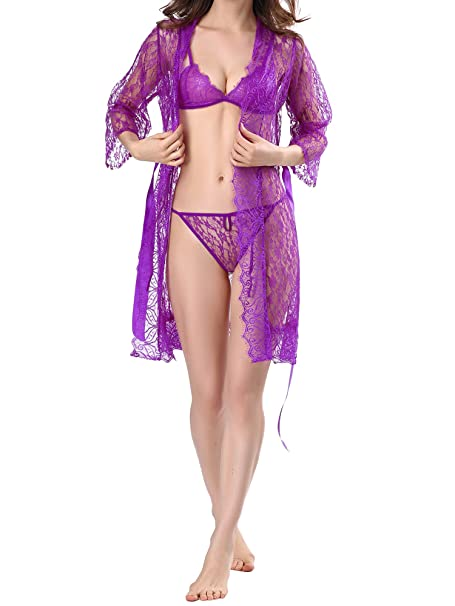 DotVol Mujer Sexy Perspectivo Lencería Encaje Bata Sujetador y Bragas Kimoso Ropa de Dormir Conjunto 4 Pcs: Amazon.es: Ropa y accesorios