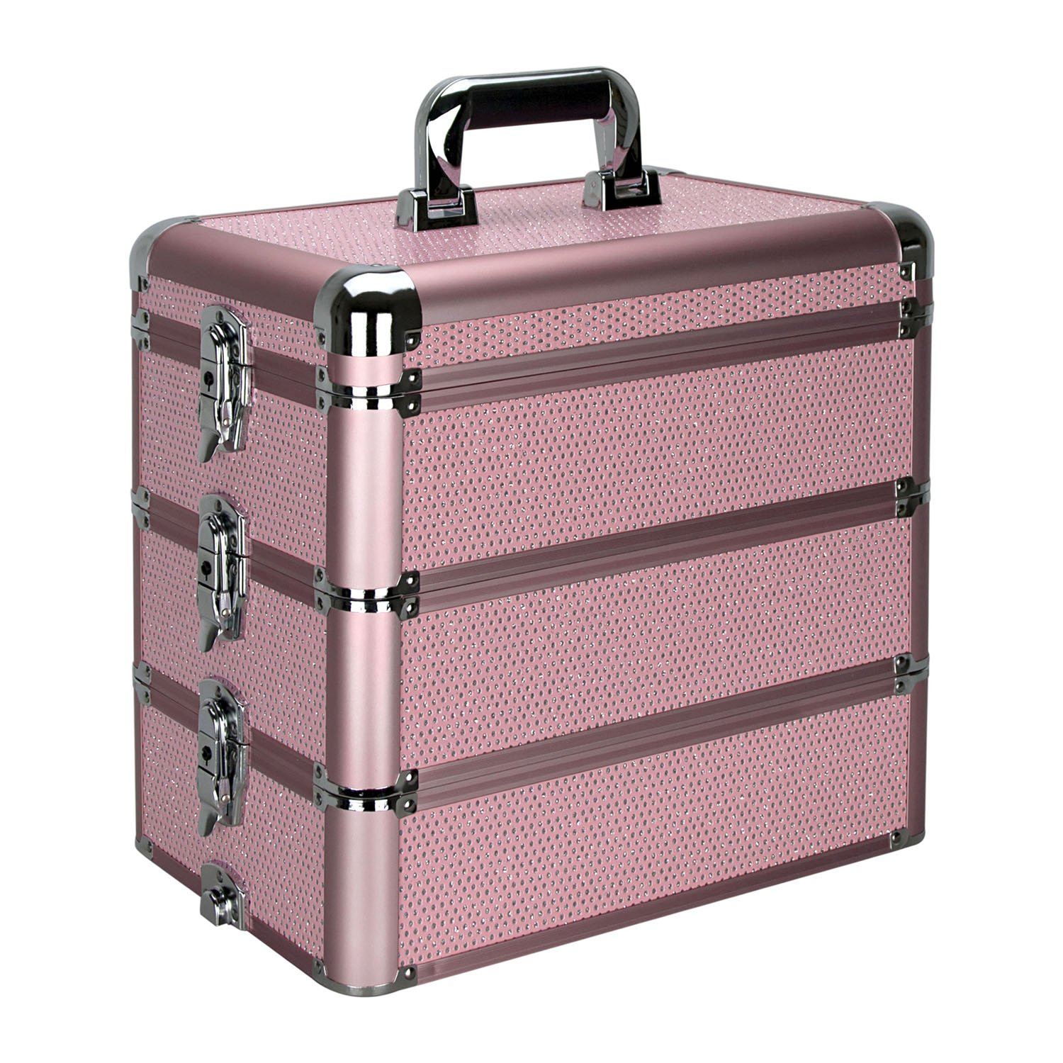 Ver Beauty DE3303KLPK 3-in-1 Removable Storage Art Craft Tool Case Organizer Adjustable Dividers Portable Travel Box Mirror-E3303, Pink Krystal