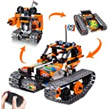 3-in-1 STEM Remote Control Building Kits-Tracked Car/Robot/Tank, 2.4Ghz Rechargeable RC Racer Toy Set Gift for 8-12,14…