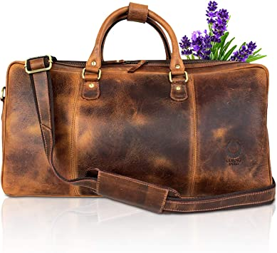 "20/"" Men/'s Brown Vintage Genuine Travel Luggage Duffle Gym Bags Tote Goat Leather"
