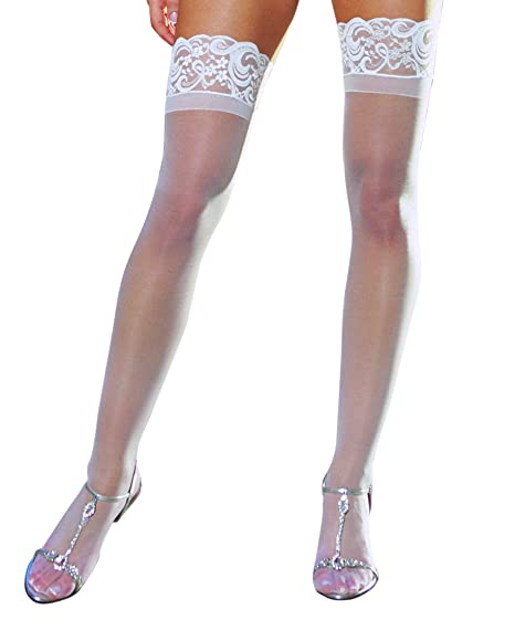 e682a7268d1fd Amazon.com: Dreamgirl Women's Plus Size Sheer Thigh High Socks, White, One  Size Queen: Clothing