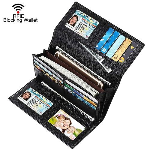 7ab54661da7f Dante Women RFID Blocking Real Leather Trifold Wallet - Clutch ...