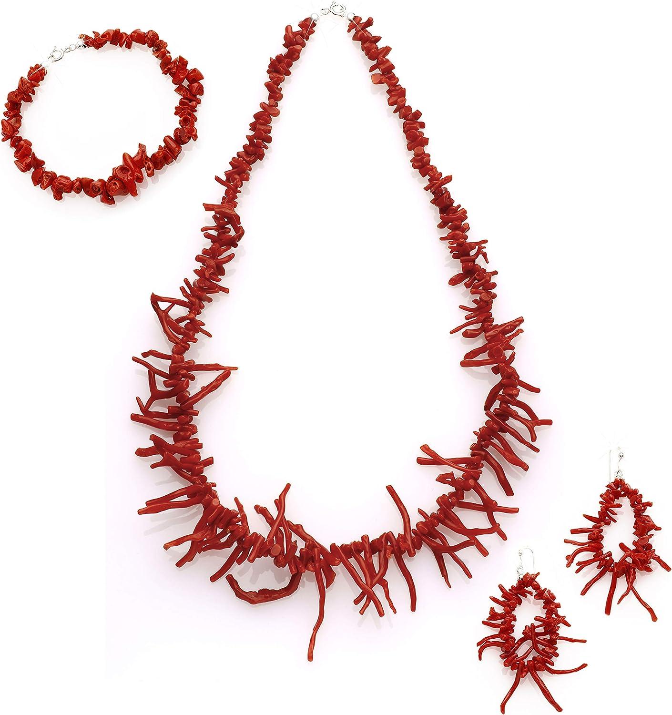 Antonino De Simone - Juego de franja de coral rojo del Mediterráneo compuesto por collar, pulsera y pendientes montados en plata blanca o dorada 925.