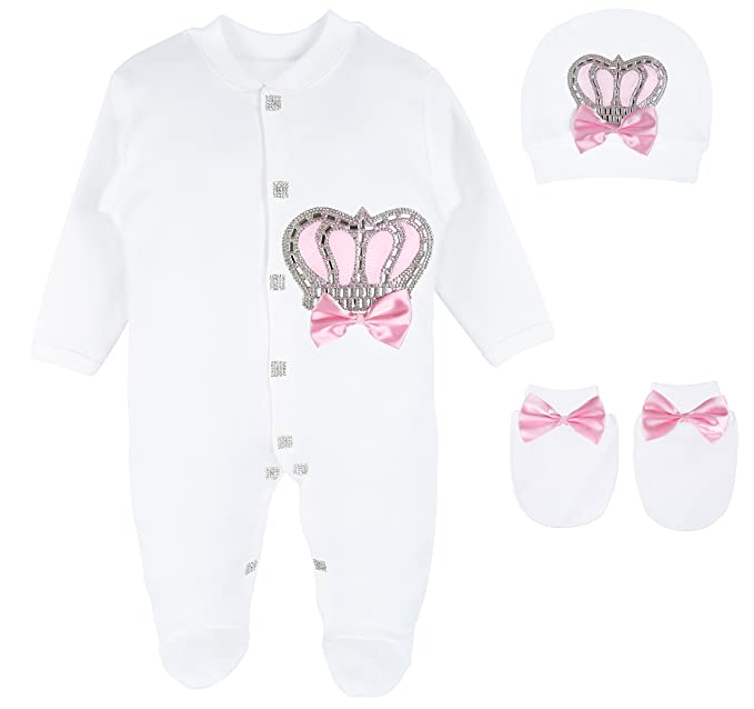 Amazon.com: Lilax Baby Girl Newborn Crown Jewels Layette 3 Piece ...