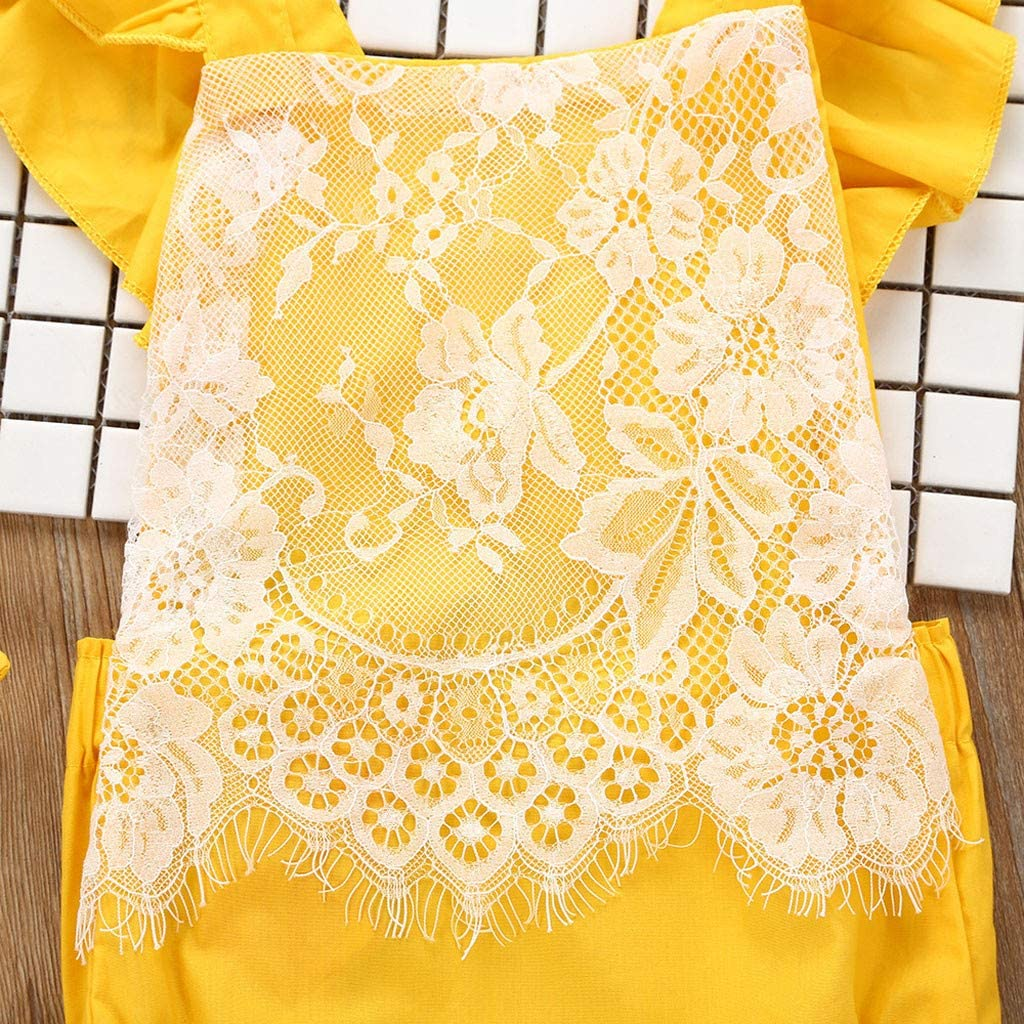 Two Pieces Sleeveless Ruffles Solid Color Floral Lace Romper Jumpsuit with Headband Fyhuzp Baby Girls Set