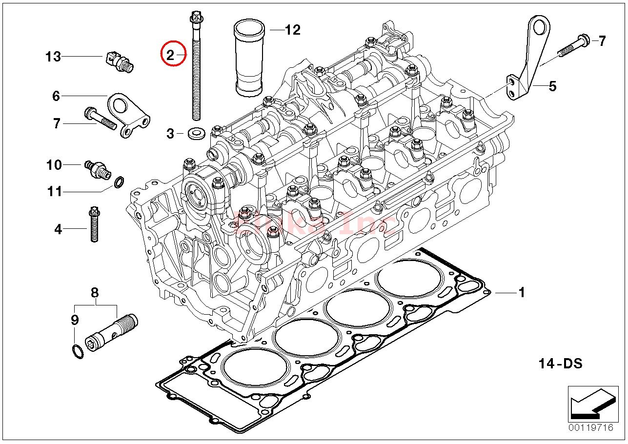 2 x BMW Genuine Engine Cylinder Head Bolt Set X5 4.4i X5 4.8is 545i 550i 550i 645Ci 650i 650i 645Ci 650i 650i 745i 750i ALPINA B7 745Li 750Li X5 4.8i