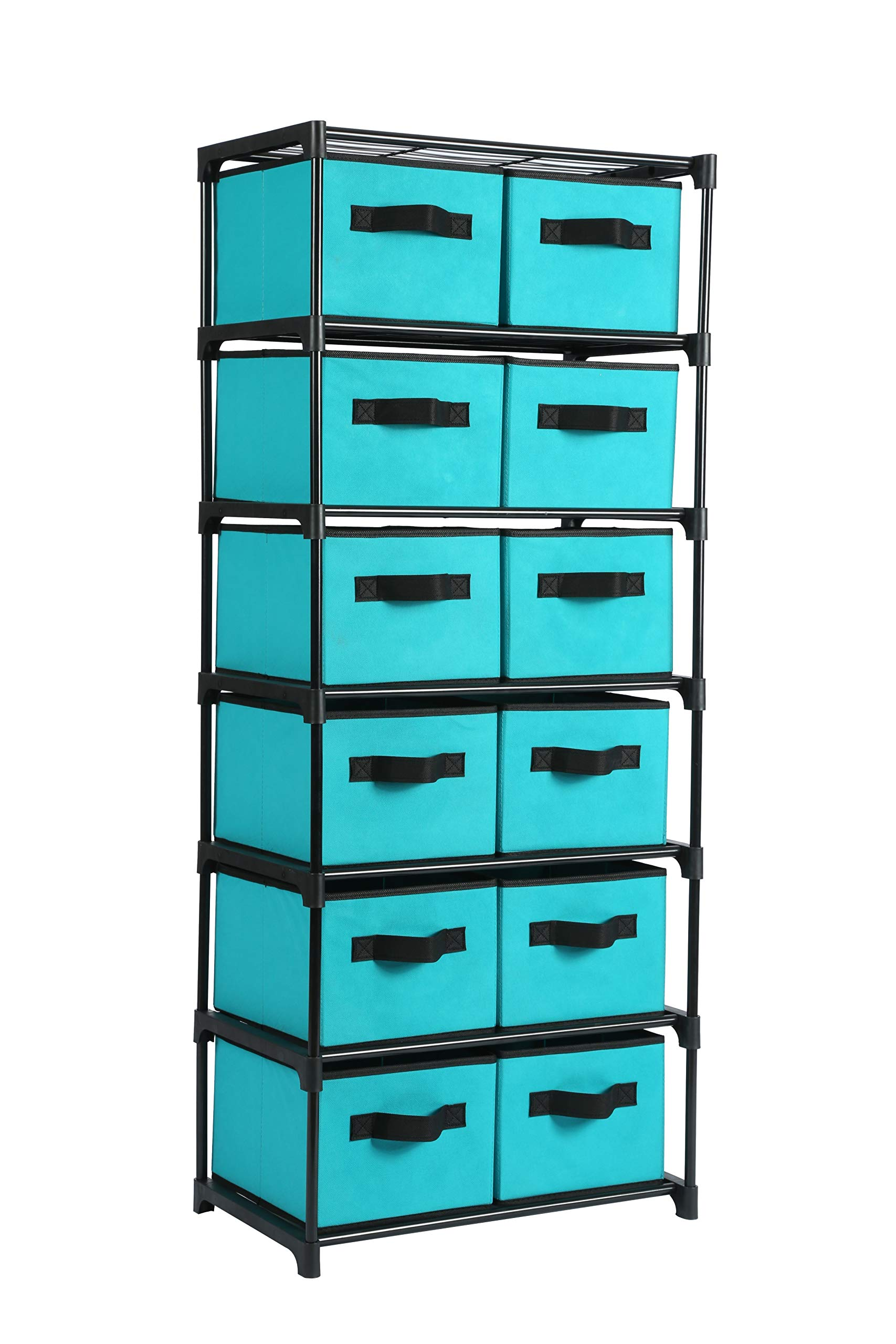 Homebi Storage Chest Shelf Unit 12-Drawer Storage Cabinet with 6-Tier Metal Wire Shelf and 12 Removable Non-woven Fabric Bins in Turquoise,20.67''W x 12''D x49.21''H by HOME BI