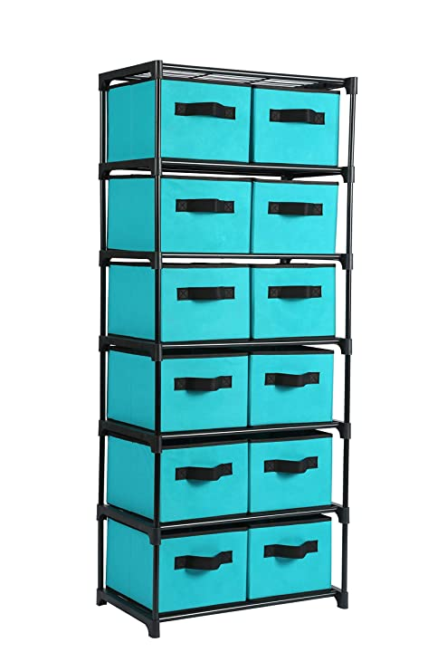 Astounding Homebi Storage Chest Shelf Unit 12 Drawer Storage Cabinet With 6 Tier Metal Wire Shelf And 12 Removable Non Woven Fabric Bins In Turquoise 20 67W X Download Free Architecture Designs Embacsunscenecom