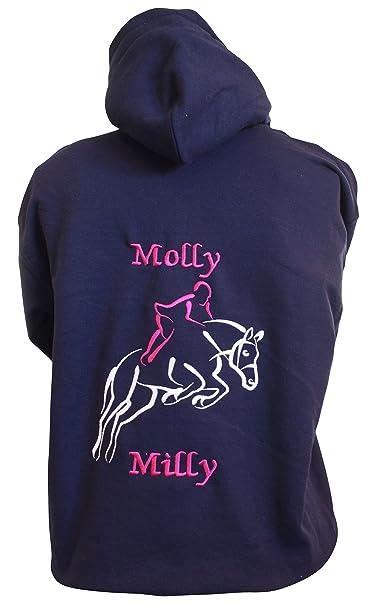 Sudadera The Little Embroidery Company, con diseño bordado de un caballo saltando, personalizable, color azul marino, tamaño XXXL: Amazon.es: Ropa y ...