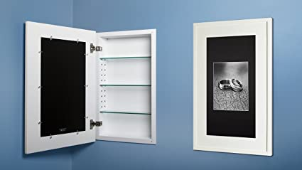 14x24 White Concealed Medicine Cabinet (Extra Large), A Recessed Mirrorless Medicine  Cabinet With
