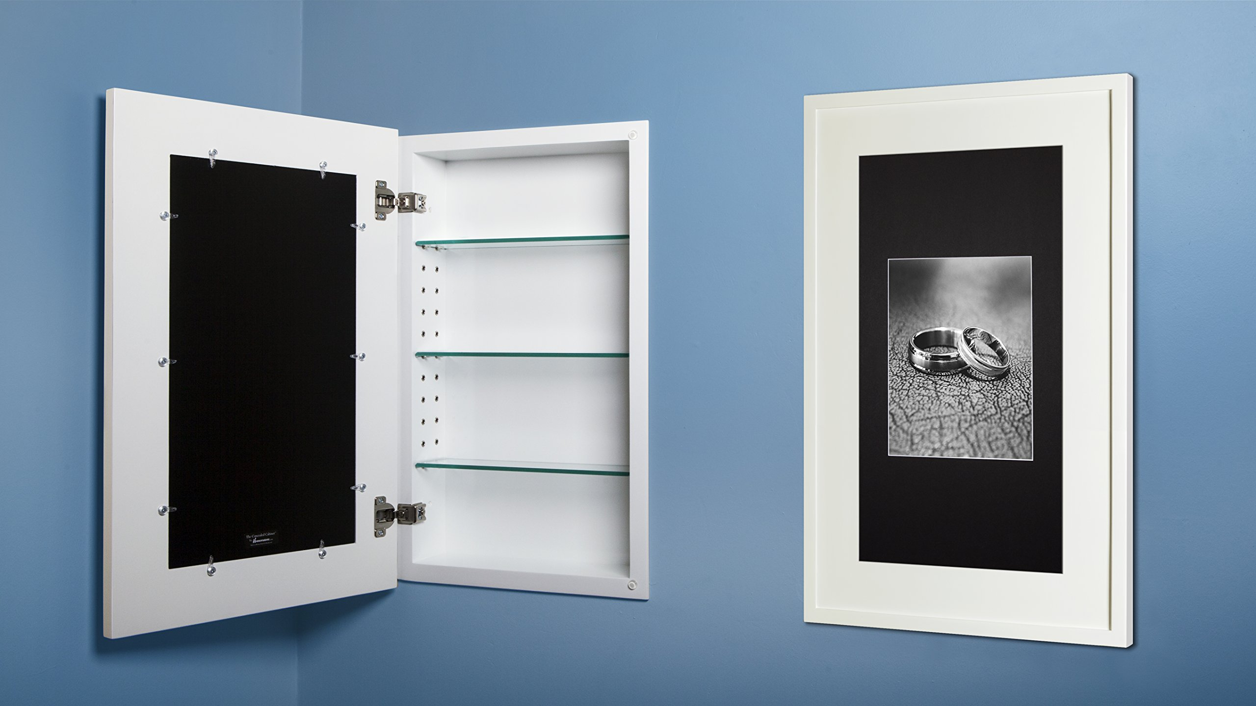 14x24 White Concealed Medicine Cabinet (Extra Large), a Recessed Mirrorless Medicine Cabinet with a Picture Frame Door (available in multiple colors & styles) by The Concealed Cabinet by iinnovators
