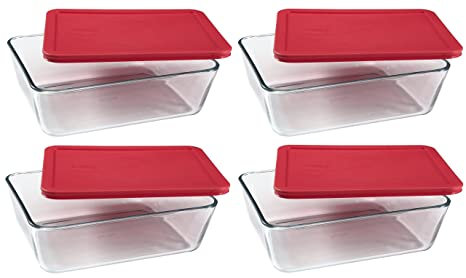 PYREX Containers Simply Store 6 Cup Rectangular Glass Food Storage Red  Plastic Covers .
