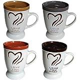 Comfy Hour Love You More 16 Oz Ceramic Mug Set with Lids