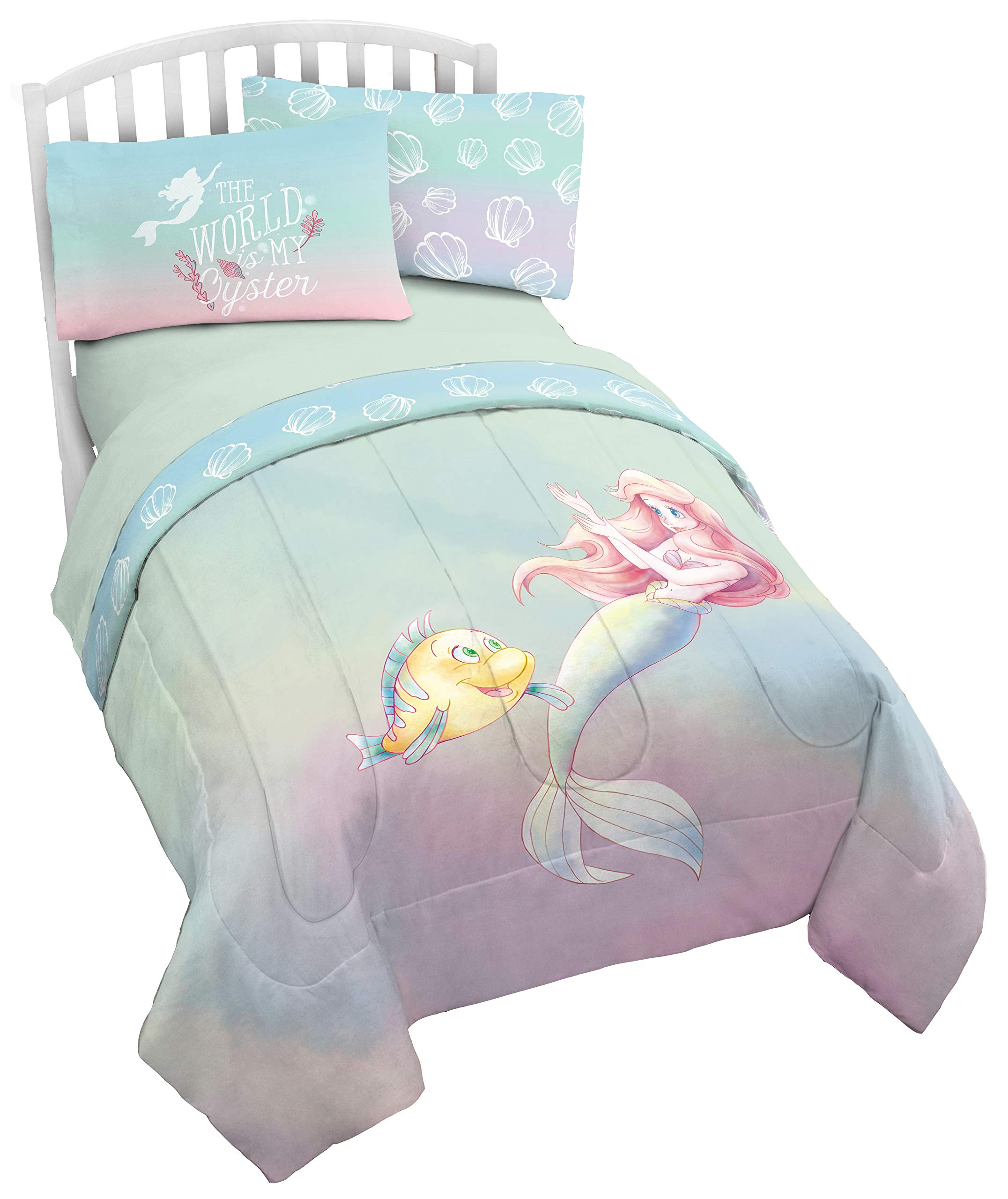 Disney The Little Mermaid Rainbow Full/Queen Comforter & Pillowcase Set - Super Soft Kids Reversible Bedding Features Ariel - Fade Resistant Polyester Microfiver Fill (Official Disney Product) by Jay Franco