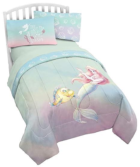 Disney The Little Mermaid Rainbow Full/Queen Comforter & Pillowcase Set -  Super Soft Kids Reversible Bedding Features Ariel - Fade Resistant  Polyester ...