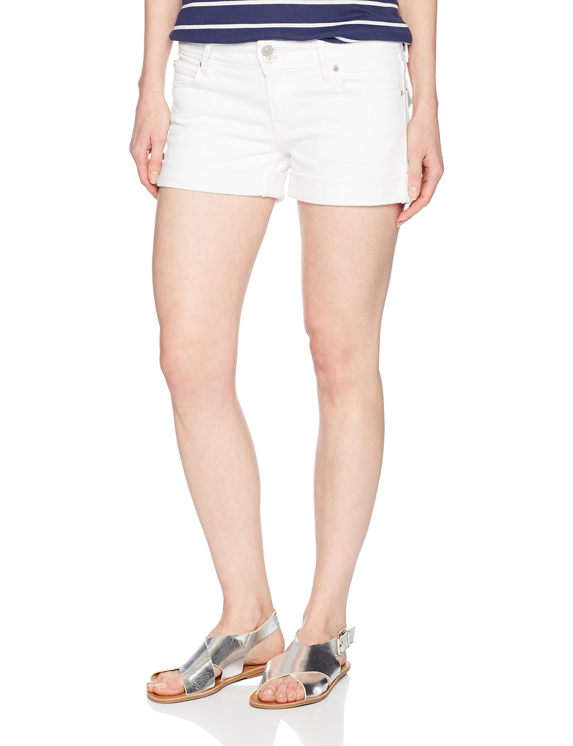 Hudson Jeans Women's Croxley Mid Thigh Flap Pocket Jean Short, White, 27