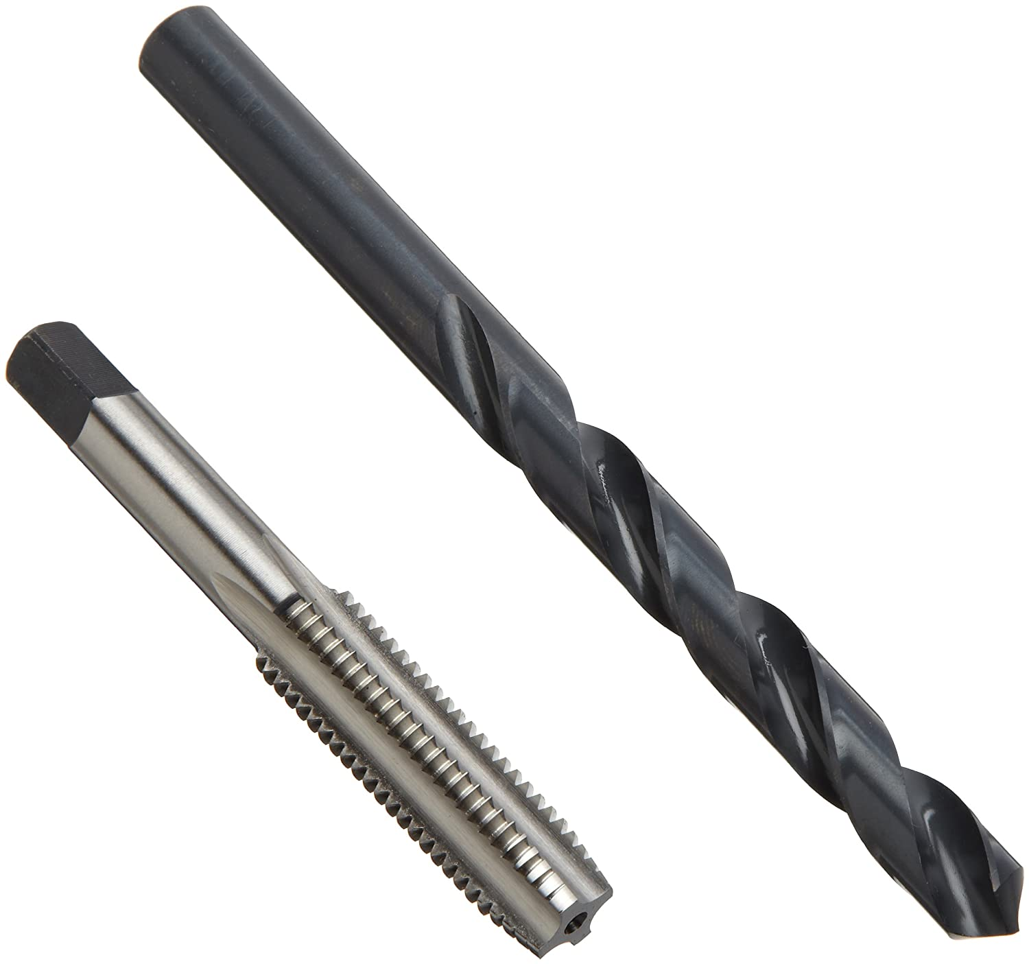 Chicago Latrobe HM18 High-Speed Steel Jobber Length Drill Bit and Tap Set with Metal Case, Black Oxide Drill Bits/Uncoated Taps, Metric, 18-piece, Metric Drill Bit Sizes, M2.5 to M12 Tap Sizes Greenfield 52541
