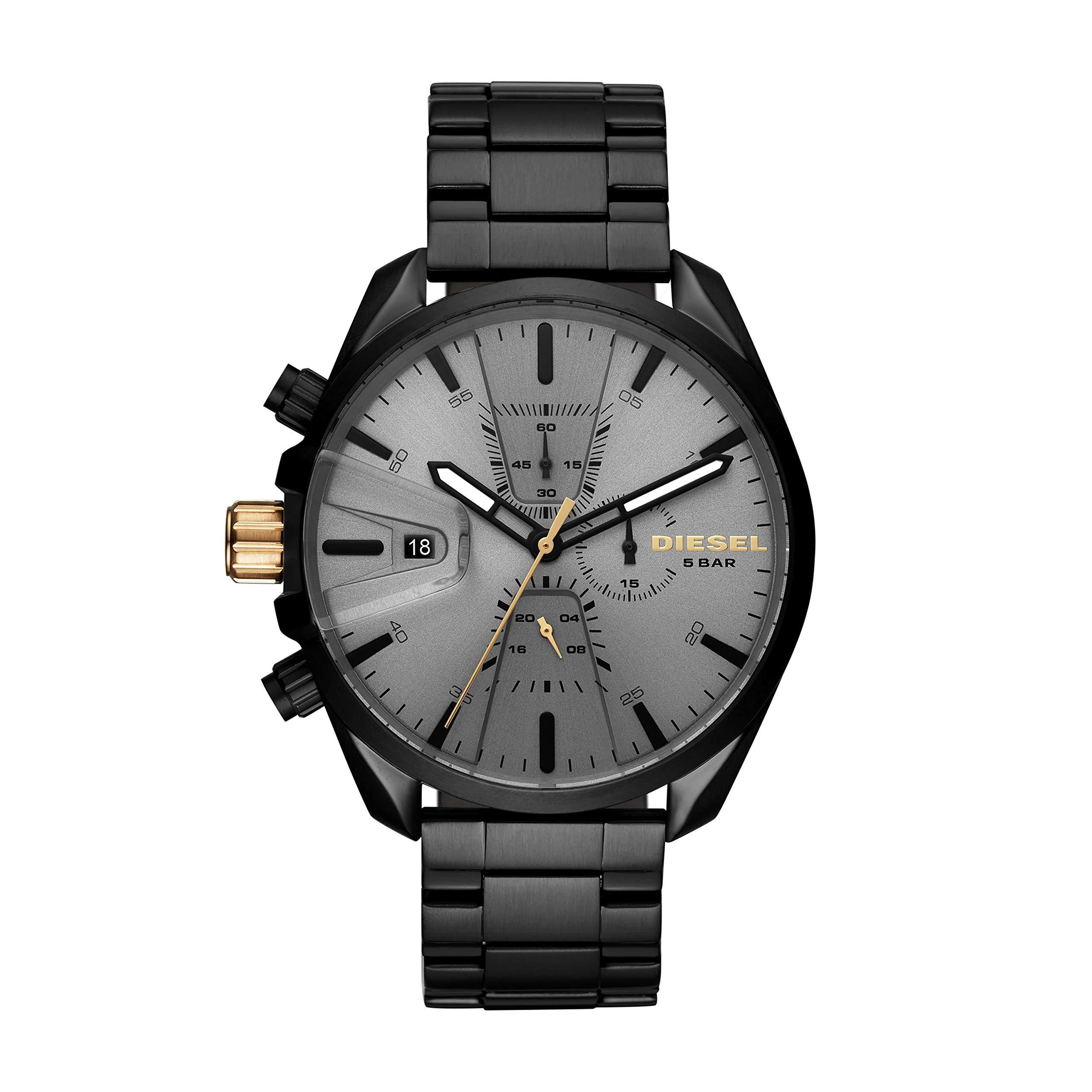 Diesel Men's Ms9 Chrono Quartz Watch with Stainless-Steel Strap, Black, 10 (Model: DZ4474)
