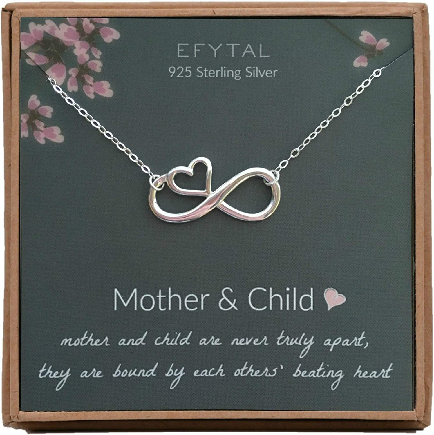 EFYTAL Mom Gifts, 925 Sterling Silver Infinity with Heart Necklace for Mother from Child, Mom Necklaces for Women, Best Birthday Gift Ideas, Pendant Mother's Day Jewelry For Her, Mothers Day