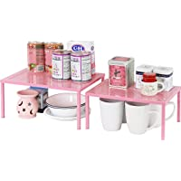 SimpleHouseware Expandable Stackable Kitchen Cabinet and Counter Shelf Organizer, Pink