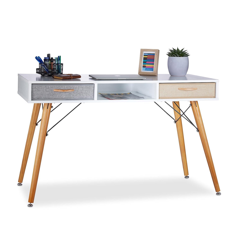 Relaxdays Schreibtisch, skandin. Design, 3 Fächer, Fächer, Fächer, 2 Schubladen, Computertisch HxBxT  ca. 74 x 125 x 60 cm, Holz, weiß b14518