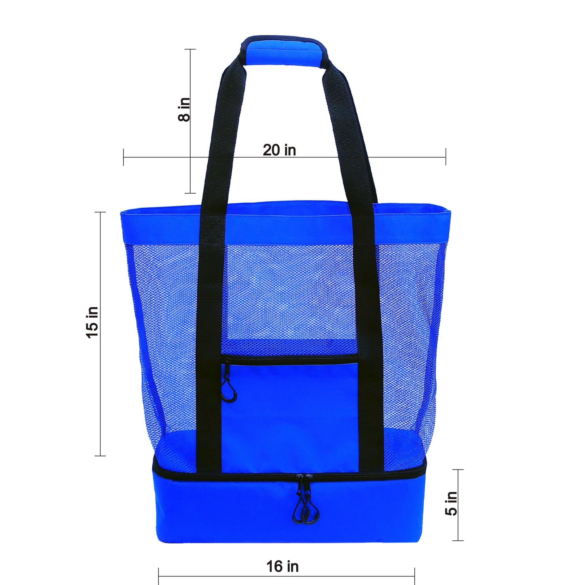 JU&JI's Beach Tote Bags – 2-in-1 Design – Mesh Bag & Built-in Picnic Cooler Compartment – Big or Extra Large Cooler Beach Bags – Padded Handle, Waterproof Zipper & Heavy-Duty Build by Ju&Ji (Image #2)