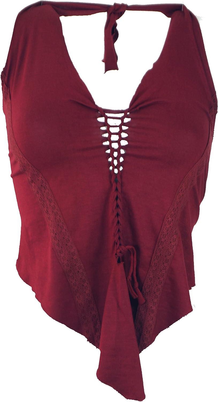 Size:38 Synthetisch Neckholder Top Damen Gr/ün Tops /& T-Shirts Alternative Bekleidung Bandeau Top Guru-Shop Goa Top Psytrance