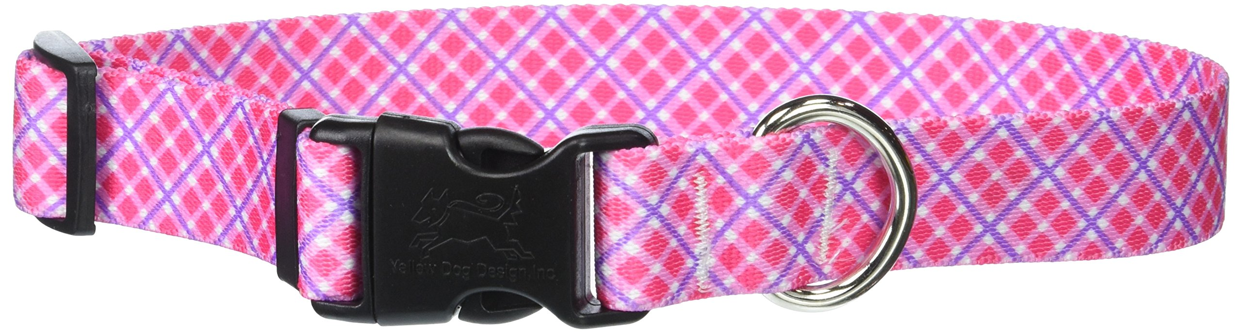 Yellow Dog Design Pink Purple Diagonal Plaid Dog Collar, Medium-1'' Wide fits Neck Sizes 14 to 20'' Wide