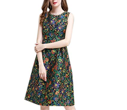 GBBTR Fashion Womens Elegant Sleeveless Casual Party Floral Print Vintage Knee Length Dress Army Green S