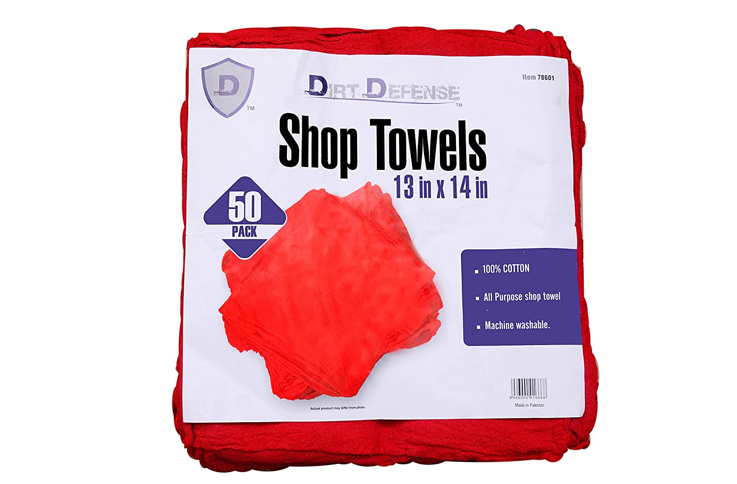 Dirt Defense Industrial Grade Red Shop Towel 50 pcs Pack for Auto Mechanic Work
