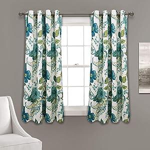 Lush Decor, Blue Floral Paisley Room Darkening Window Curtain Panel Pair, 63