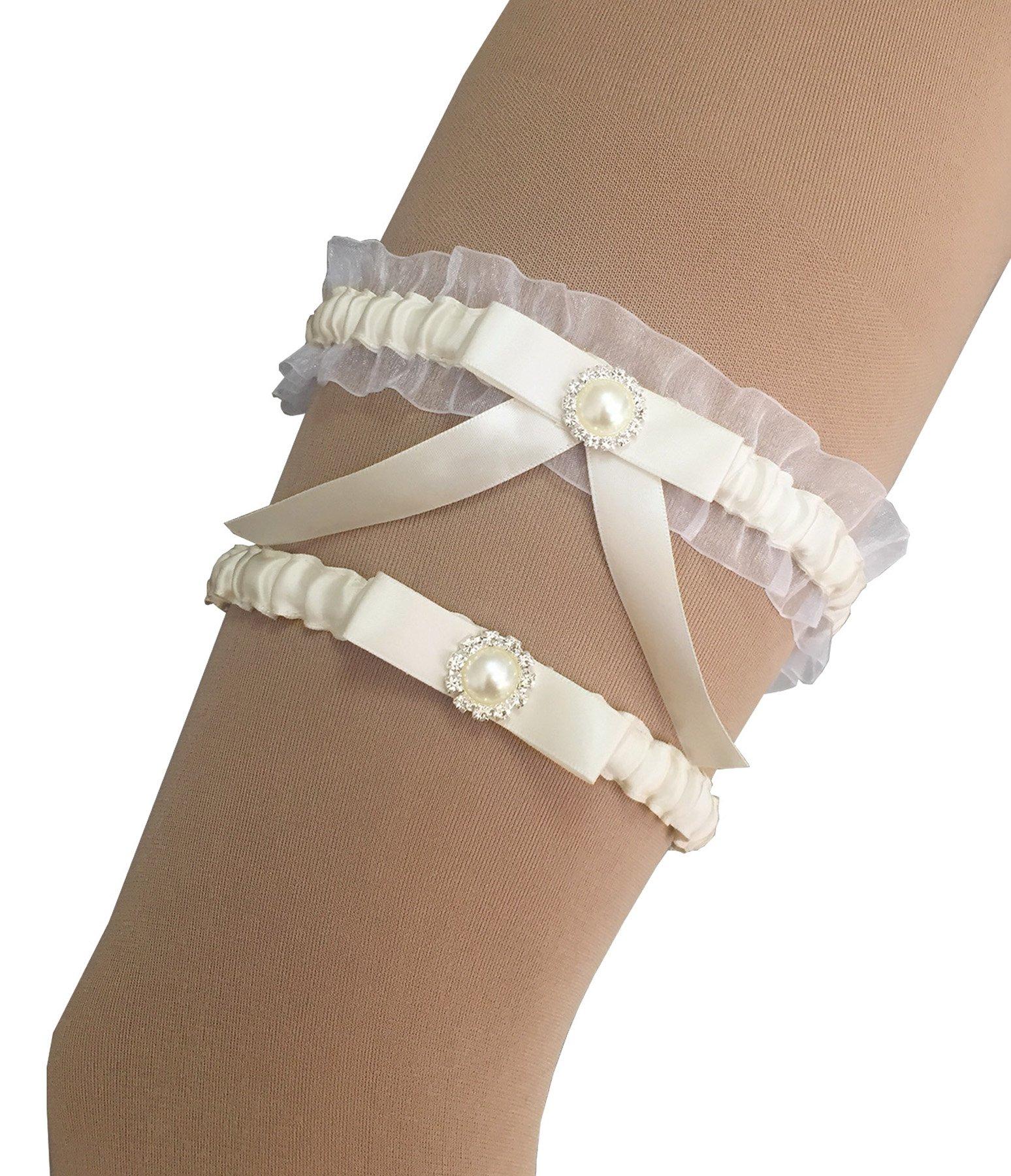 Kirmoo Bridal Garter Belt Set Ivory Wedding Keepsake and Toss Garters For Bride (One Size Fit Most,15''~23'')