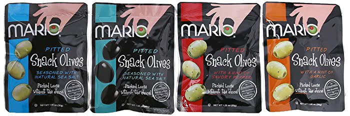 Mario Camacho Foods Pitted Snack Olives, Variety Pack,1.05 Ounce (Pack of 12)